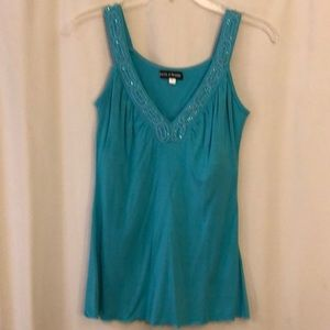 Beaded tank with built in cami bra